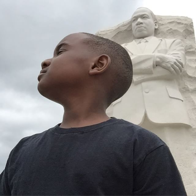 Little Kent 1 learning about Dr. Martin Luther King, Jr. at the memorial.