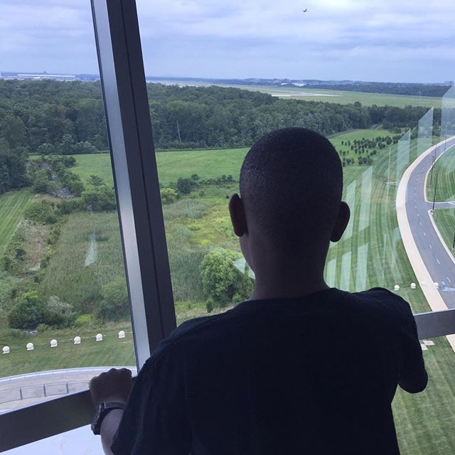 Enjoying the view from the National Air and Space Museum Observation Deck