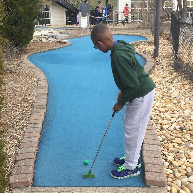 Little Kent 2 practicing his golf game