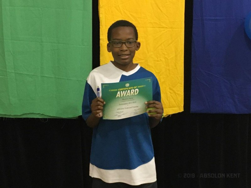 Little Kent 2 participating in the 2018 Awana Awards Ceremony